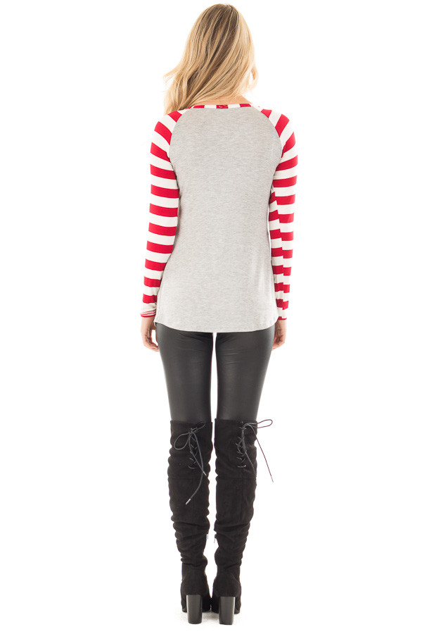 "Red Striped ""All You Need is Love"" Graphic Baseball Tee back full body"
