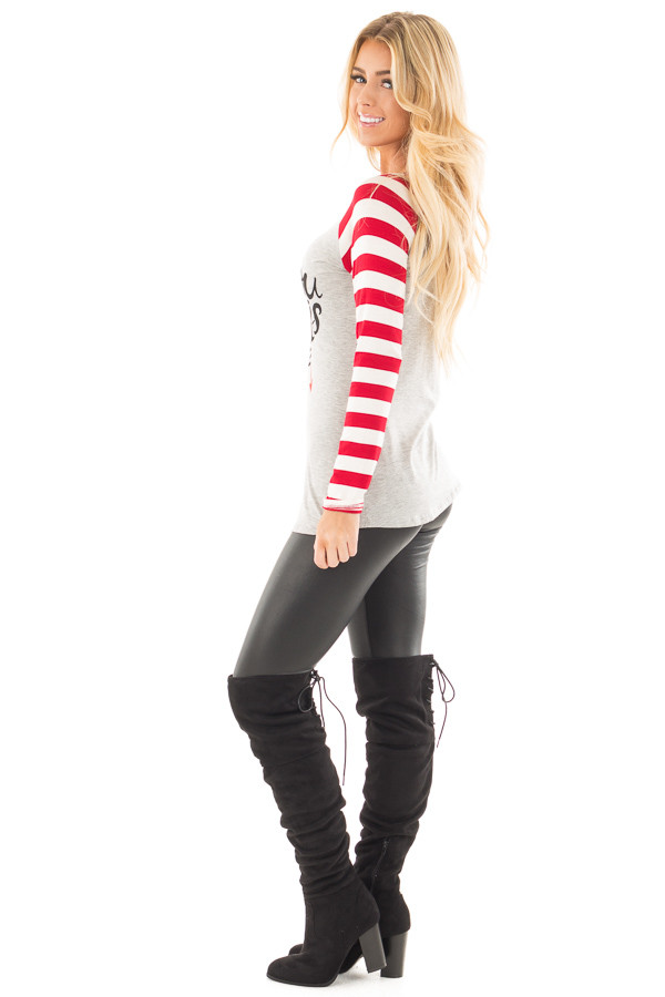 "Red Striped ""All You Need is Love"" Graphic Baseball Tee side full body"