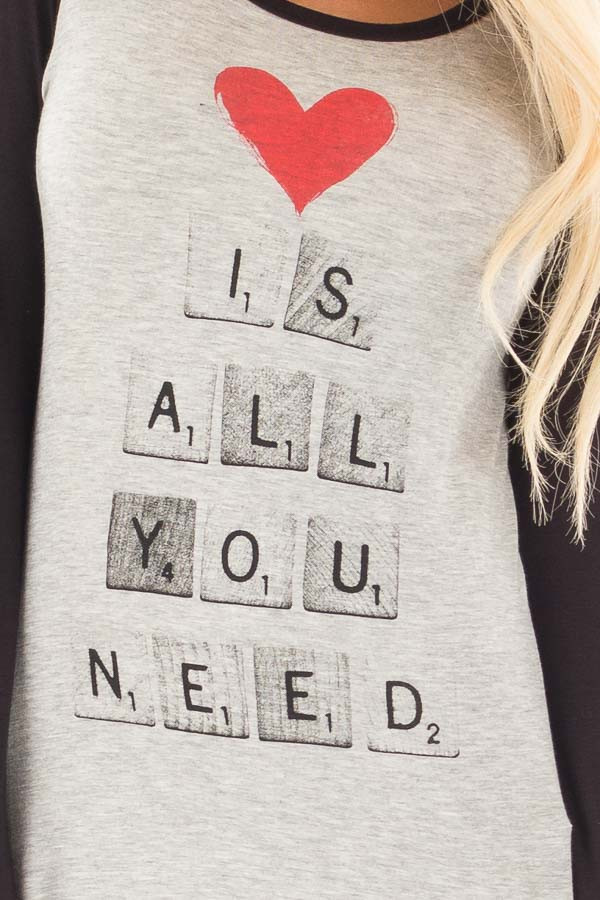"Black ""Love is All You Need"" Scrabble Graphic Baseball Tee detail"