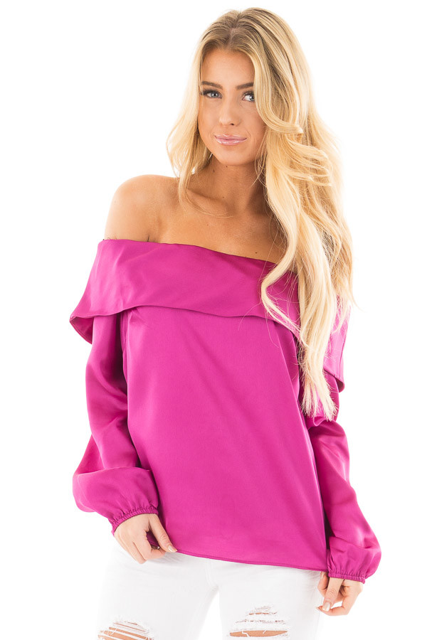 Magenta Silky Off the Shoulder Fold Over Top front close up