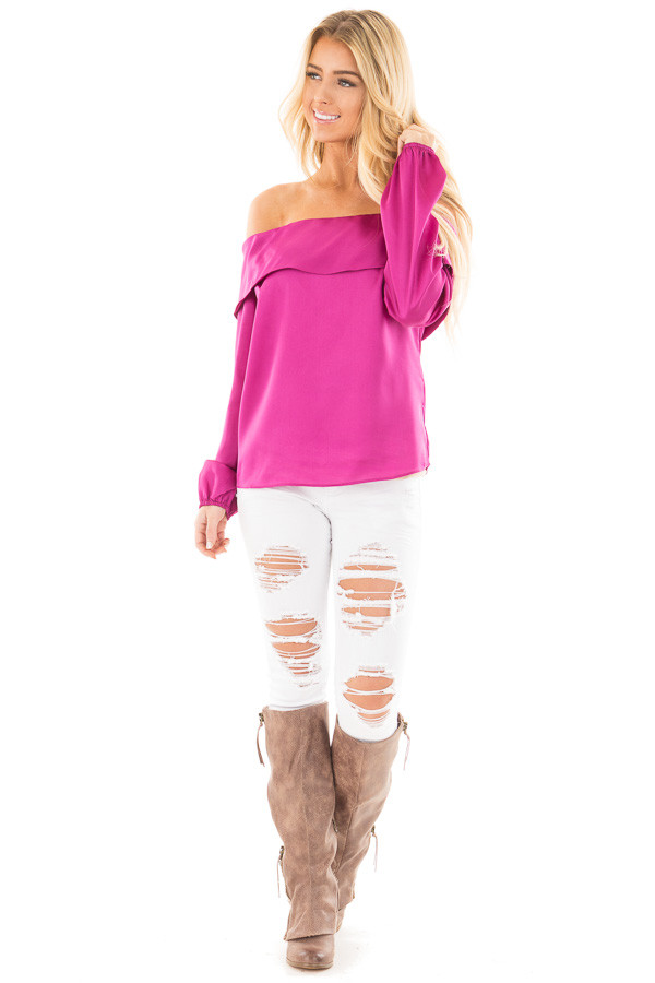Magenta Silky Off the Shoulder Fold Over Top front full body