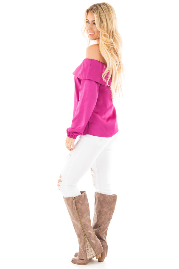 Magenta Silky Off the Shoulder Fold Over Top side full body