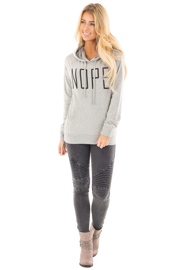 Heather Grey 'Nope' Graphic Hoodie Top with Pocket front full body