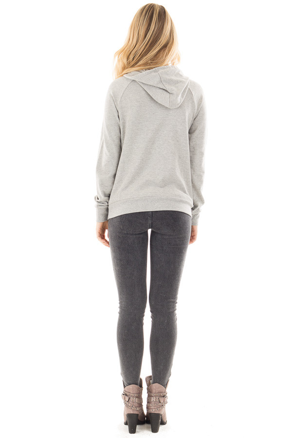 Heather Grey 'Nope' Graphic Hoodie Top with Pocket back full body