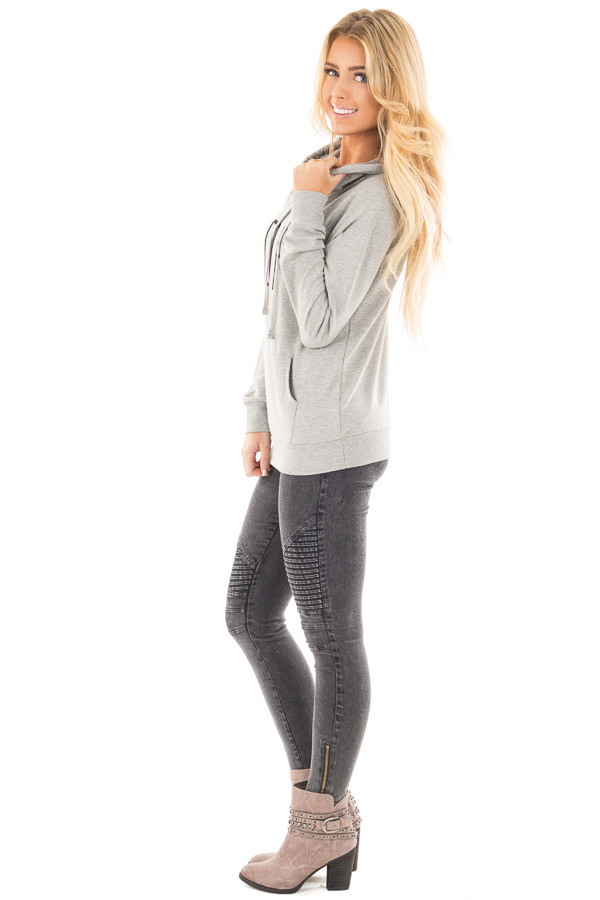 Heather Grey 'Nope' Graphic Hoodie Top with Pocket side full body