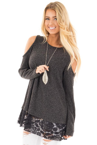 Charcoal Cold Shoulder Sweater with Lace Details front close up