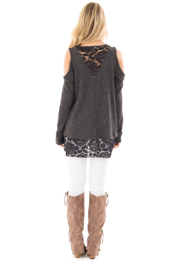 Charcoal Cold Shoulder Sweater with Lace Details back full body