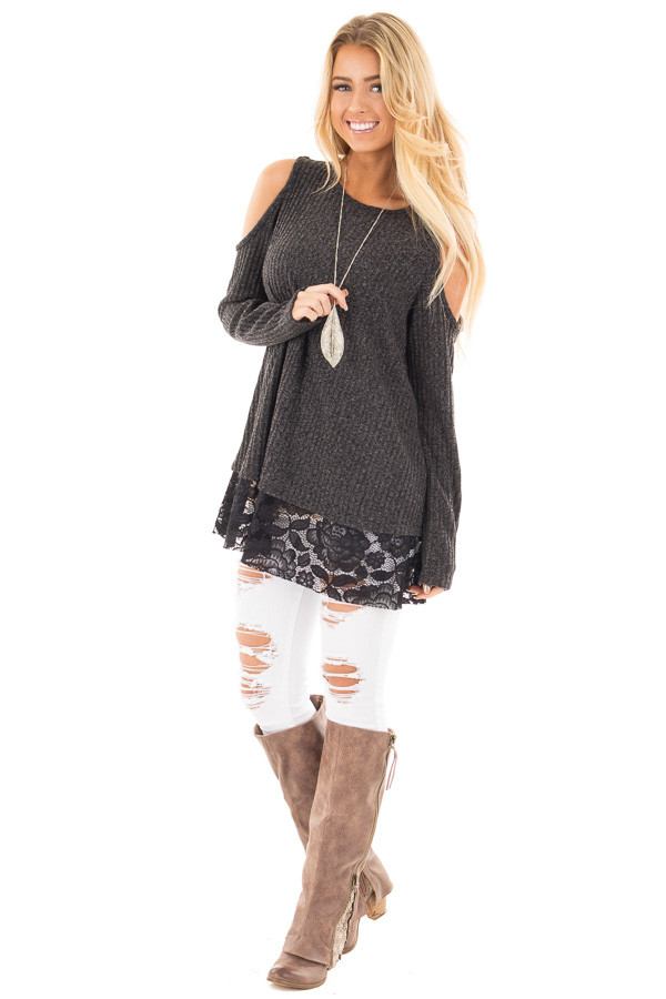 Charcoal Cold Shoulder Sweater with Lace Details front full body