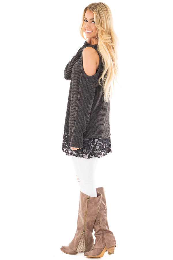 Charcoal Cold Shoulder Sweater with Lace Details side full body