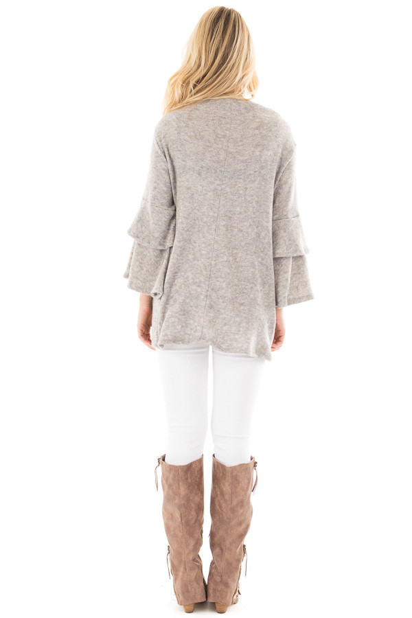 Heather Grey Mock Neck Top with Layered Ruffle Sleeves back full body