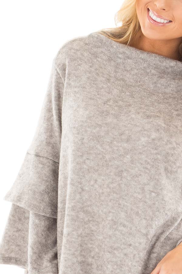 Heather Grey Mock Neck Top with Layered Ruffle Sleeves detail