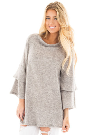 Heather Grey Mock Neck Top with Layered Ruffle Sleeves front close up