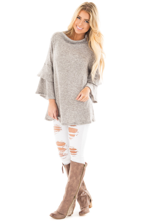 Heather Grey Mock Neck Top with Layered Ruffle Sleeves front full body