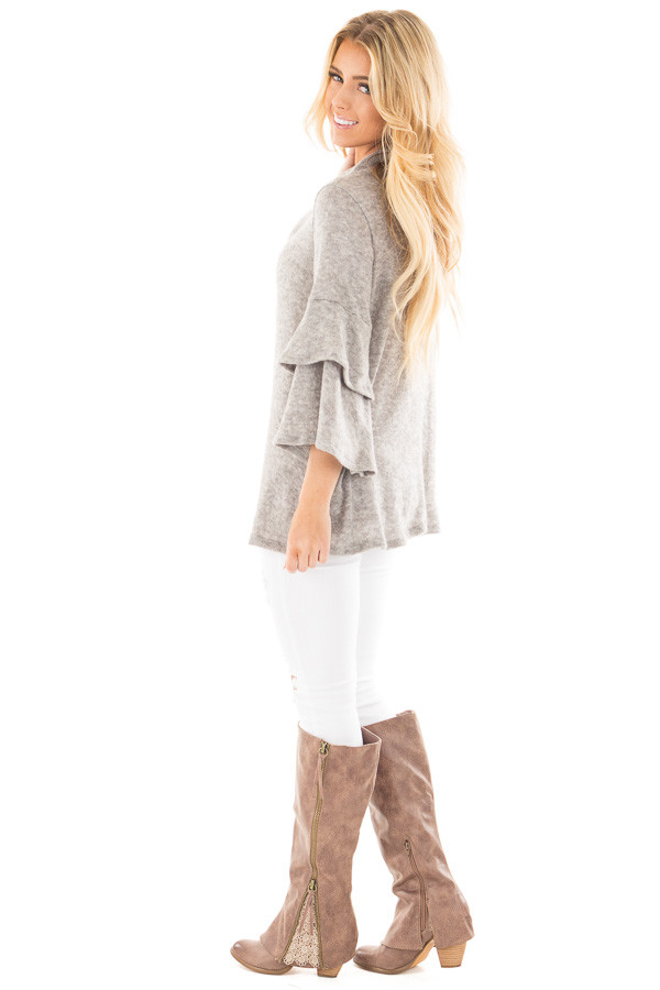 Heather Grey Mock Neck Top with Layered Ruffle Sleeves side full body