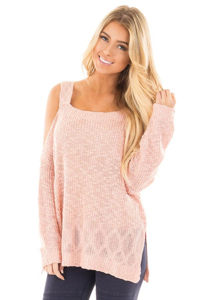 Blush Cold Shoulder Knit Sweater front close up