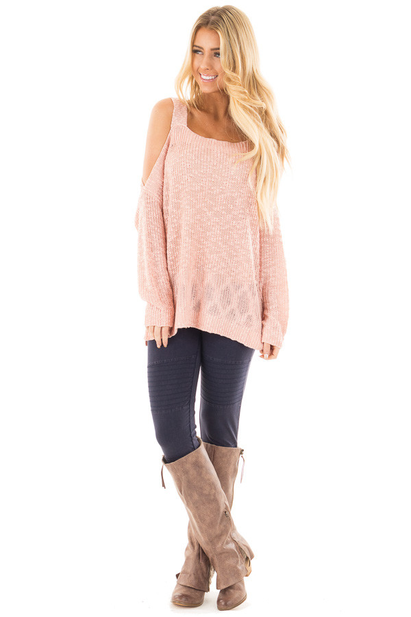 Blush Cold Shoulder Knit Sweater front full body