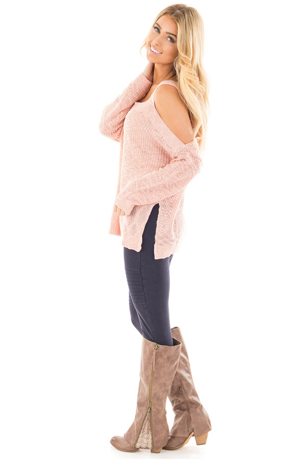 Blush Cold Shoulder Knit Sweater side full body