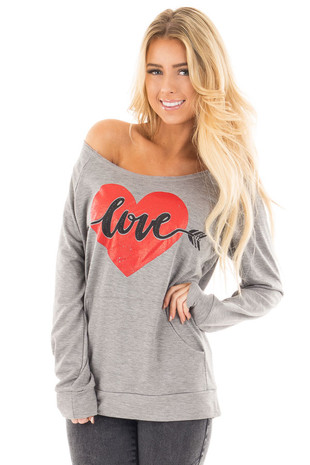 Heather Grey Off the Shoulder 'Love' Heart Graphic Top front close up