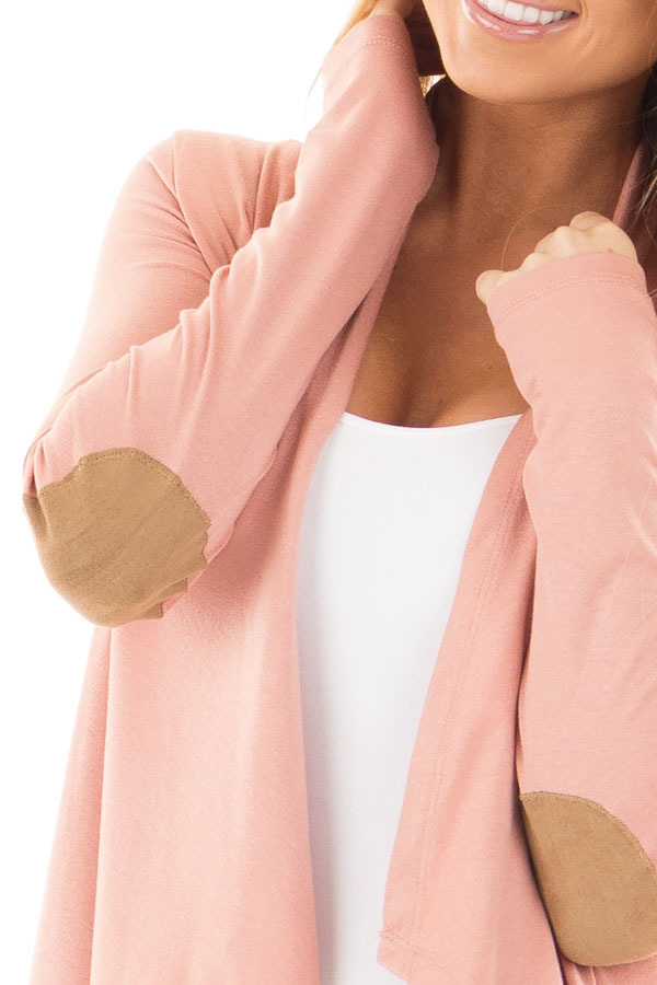 Salmon Open Cardigan with Draped Front and Elbow Patch Detail detail
