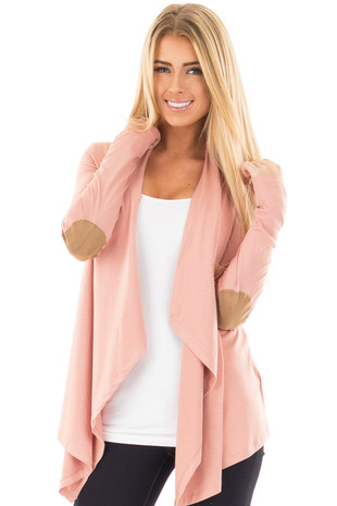 Salmon Open Cardigan with Draped Front and Elbow Patch Detail front close up