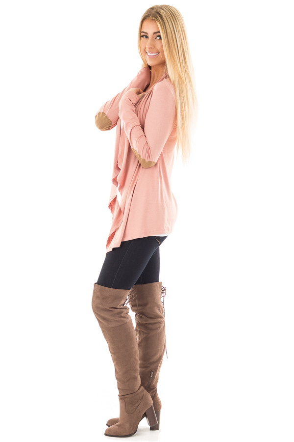 Salmon Open Cardigan with Draped Front and Elbow Patch Detail side full body
