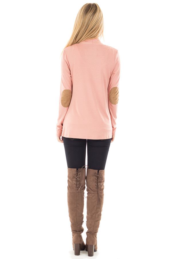Salmon Open Cardigan with Draped Front and Elbow Patch Detail back full body