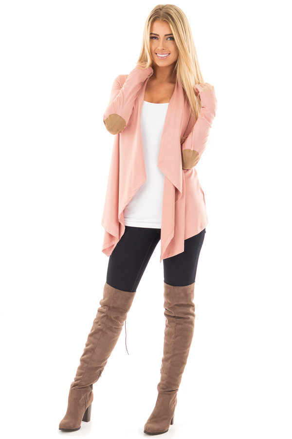 Salmon Open Cardigan with Draped Front and Elbow Patch Detail front full body