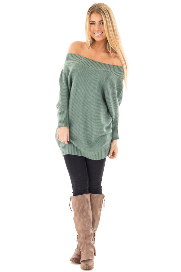 Deep Sage Off the Shoulder Dolman Knit Sweater front full body