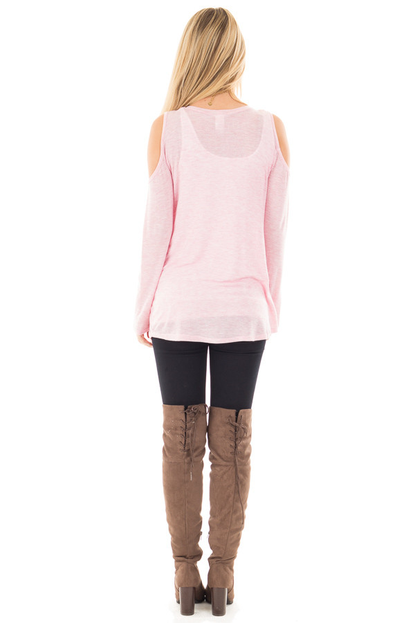Bubblegum Two Tone Cold Shoulder Top back full body