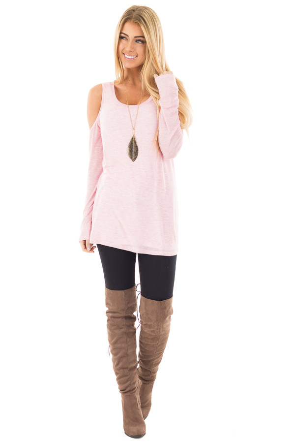 Bubblegum Two Tone Cold Shoulder Top front full body