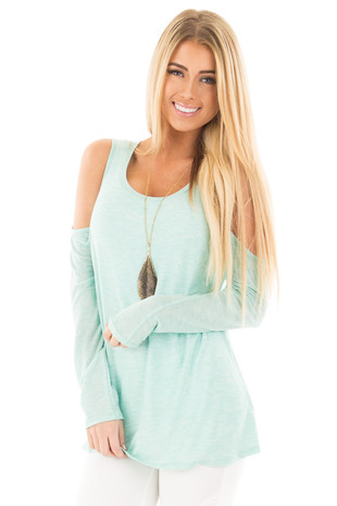 Mint Two Tone Cold Shoulder Top front close up
