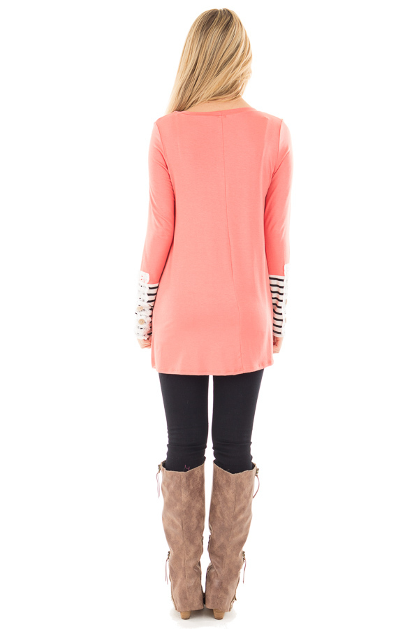 Coral Soft Top with Lace and Stripe Detail back full body