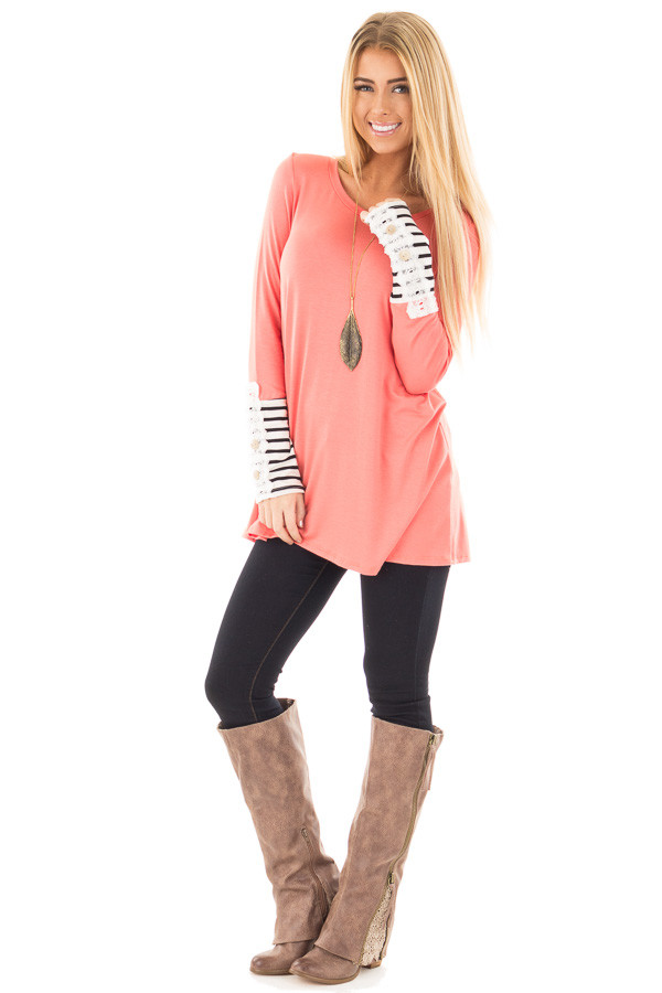 Coral Soft Top with Lace and Stripe Detail front full body