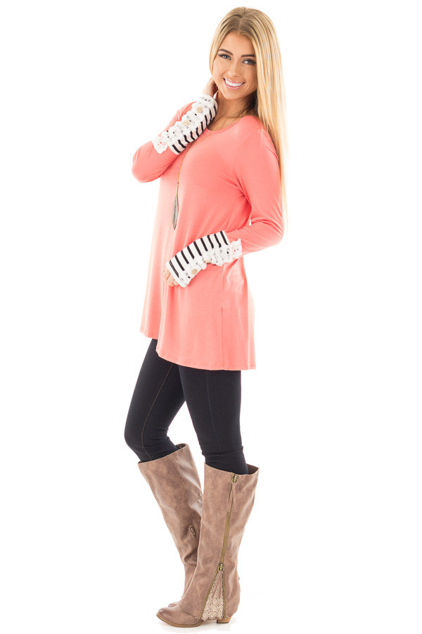 Coral Soft Top with Lace and Stripe Detail side full body