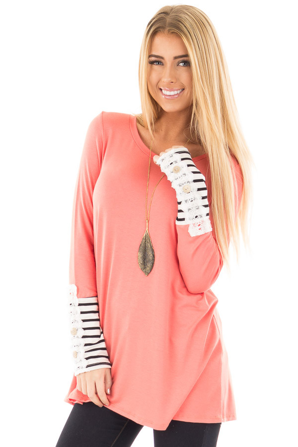 Coral Soft Top with Lace and Stripe Detail front close up