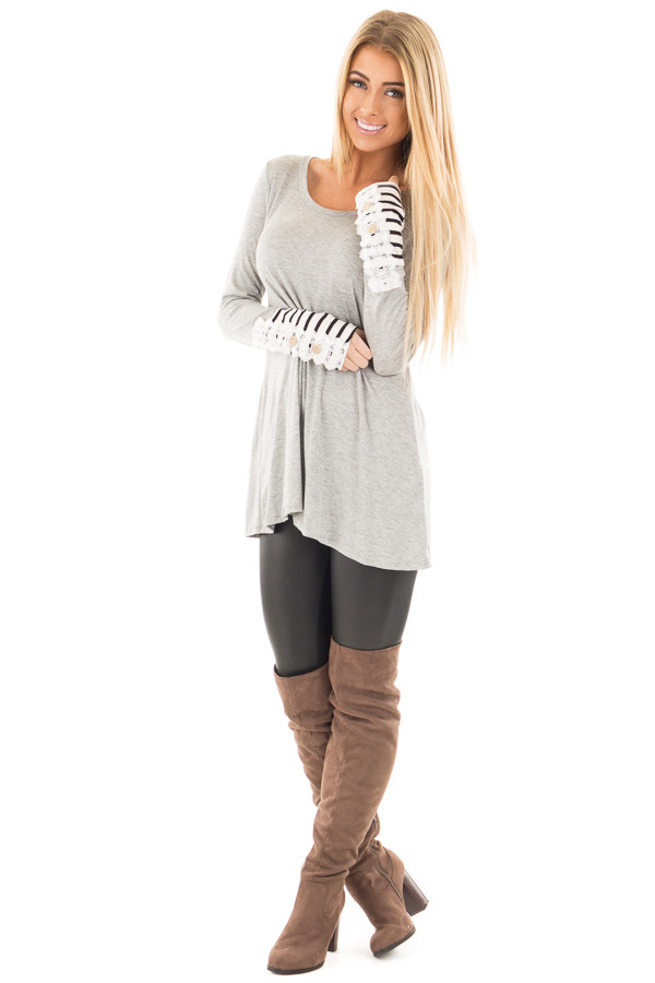 Heather Grey Soft Top with Lace and Stripe Detail front full body