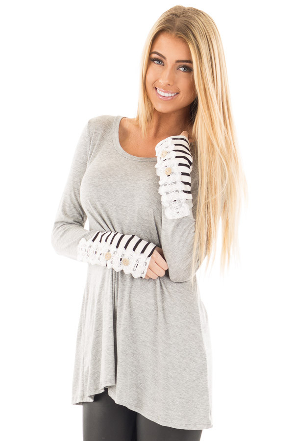 Heather Grey Soft Top with Lace and Stripe Detail front close up