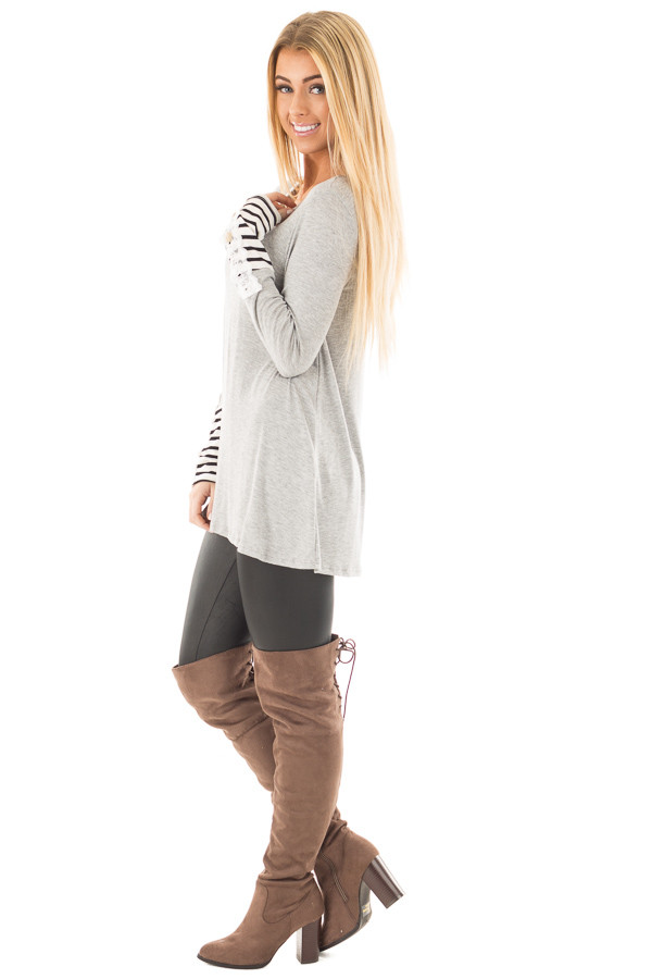 Heather Grey Soft Top with Lace and Stripe Detail side full body