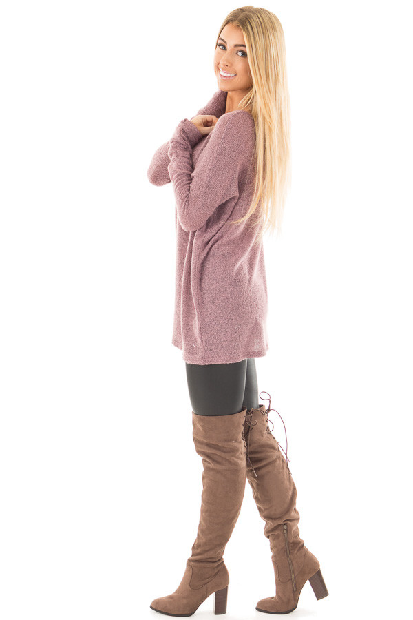 Dusty Lavender V Neck Oversized Sweater side full body