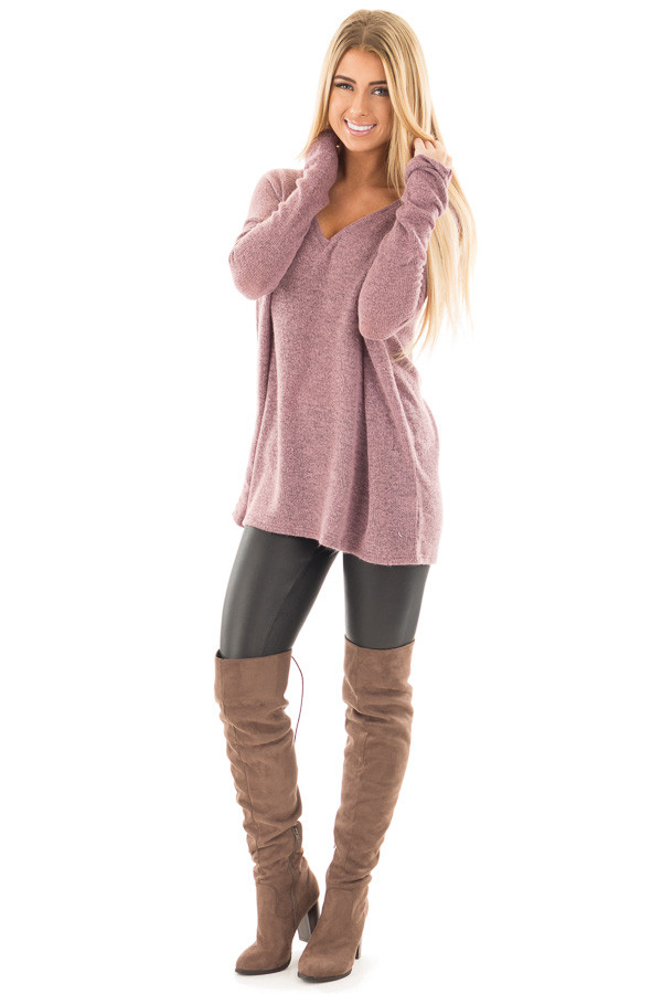 Dusty Lavender V Neck Oversized Sweater front full body