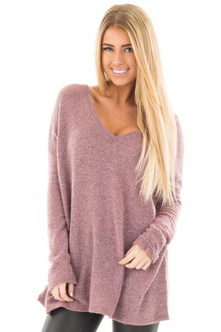 Dusty Lavender V Neck Oversized Sweater front close up