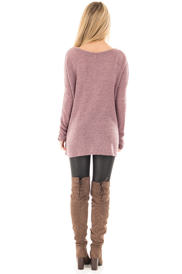 Dusty Lavender V Neck Oversized Sweater back full body