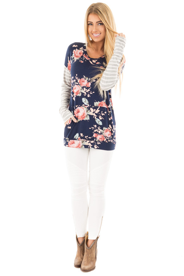 Navy Floral Top with Striped Sleeves and Front Pocket front full body