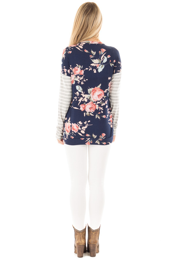 Navy Floral Top with Striped Sleeves and Front Pocket back full body
