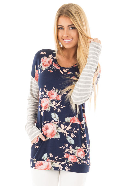 Navy Floral Top with Striped Sleeves and Front Pocket front close up