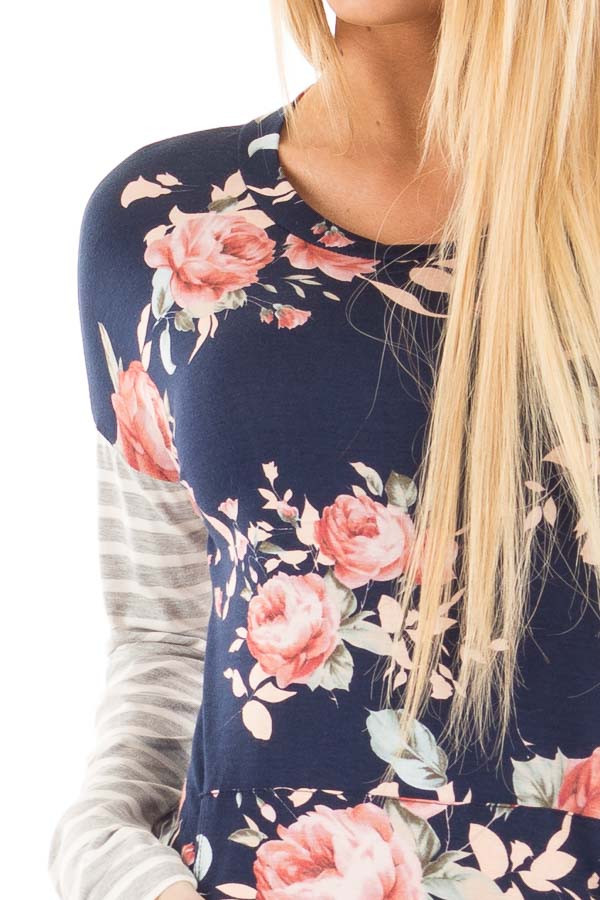 Navy Floral Top with Striped Sleeves and Front Pocket detail