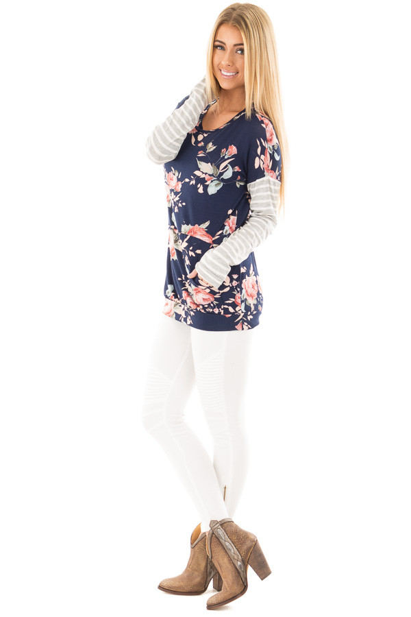 Navy Floral Top with Striped Sleeves and Front Pocket side full body