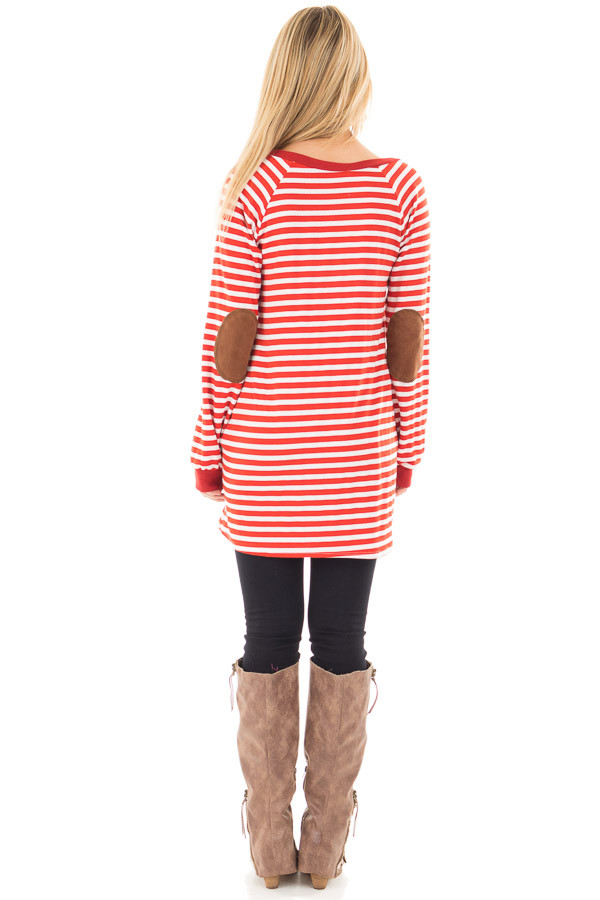 Rusty Red Striped Tunic with Button Detail and Pockets back full body