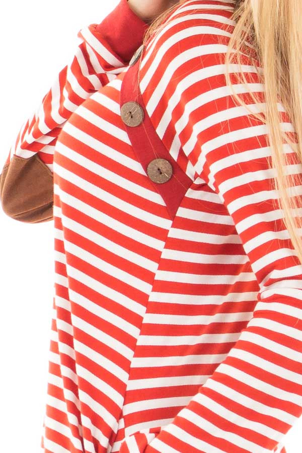 Rusty Red Striped Tunic with Button Detail and Pockets detail