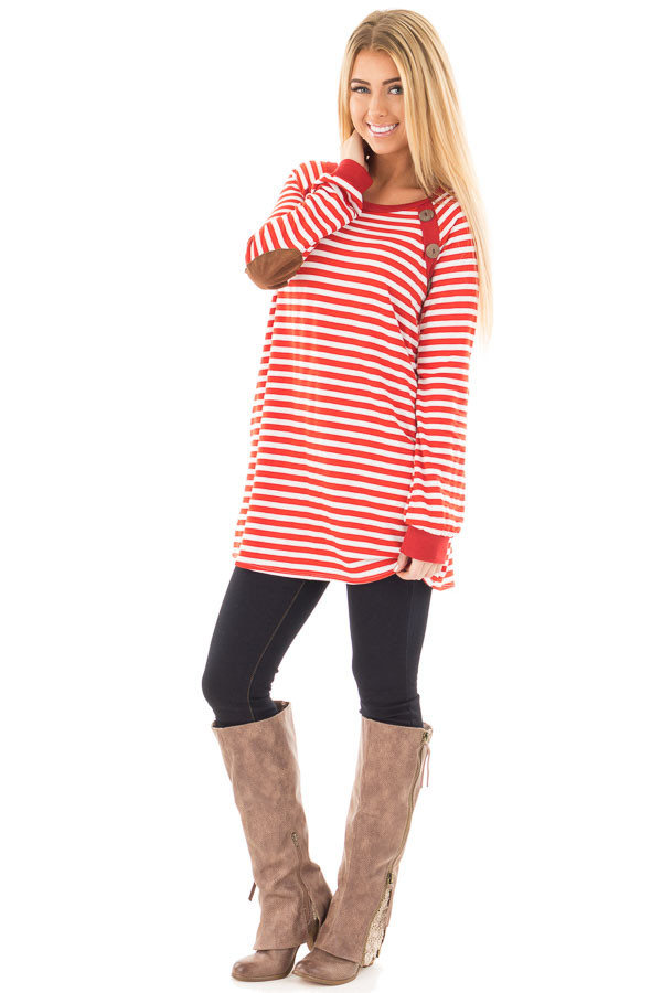 Rusty Red Striped Tunic with Button Detail and Pockets front full body